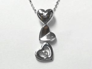 K10WG ホワイトゴールドダイヤモンド ハートハート ペンダント ネックレス10P03Dec16