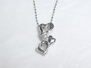 K18WG ホワイトゴールドダイヤモンド ハート ペンダント ネックレス10P26Mar16