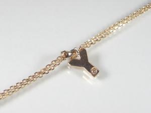 イニシャル「Y」K10PG ピンクゴールドダイヤモンド イニシャル ブレスレット10P03Dec16