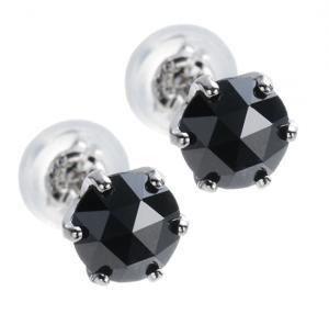 魅惑のローズカット!プラチナ×大粒ブラックダイヤモンド計1.0ct ピアス10P03Dec16