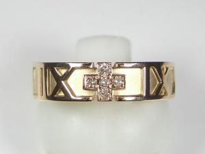 K18PG ピンクゴールドダイヤモンド クロス リング10P03Dec16