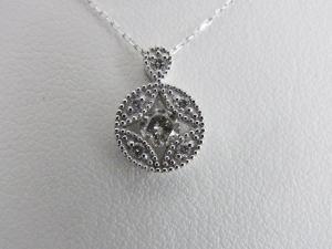 K18WG 0.20ctダイヤ 丸型ペンダントネックレス10P03Dec16