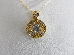 K18 0.20ctダイヤ 丸型ペンダントネックレス10P03Dec16