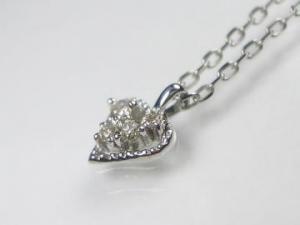 K10WG ホワイトゴールドダイヤモンド ハート ペンダント ネックレス10P03Dec16