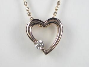 K18PG ピンクゴールドダイヤモンド ハートハート ペンダント ネックレス10P03Dec16