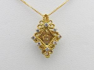 K18イエローゴールド 菱形 0.150CTダイヤモンドペンダントネックレス10P03Dec16