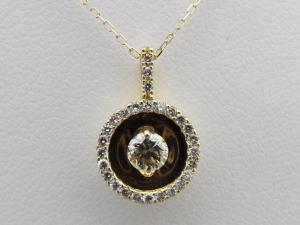 K18イエローゴールド サークル型 計0.33CTダイヤモンドペンダントネックレス10P03Dec16