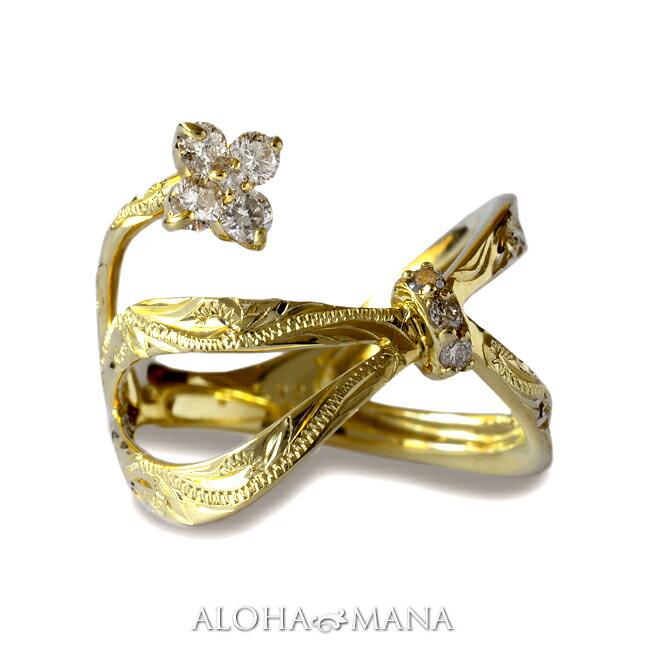 一輪の可憐な花が蝶々結びのリボンに繋がる ダイヤモンド リング 指輪 ハワイアンジュエリーレディース 女性 (weliana) (K18 ゴールド 18金) Lipine リボン フラワー ダイヤモンド リング イエローゴールド wri1383