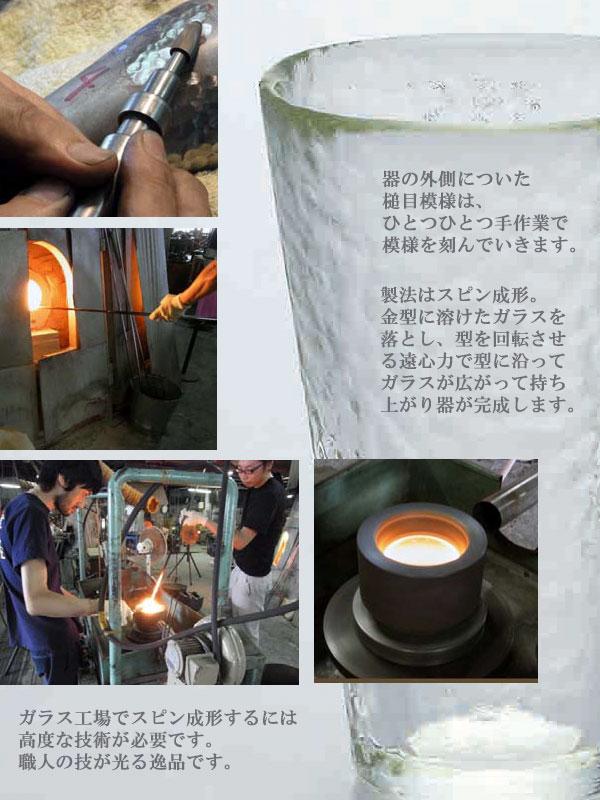 器の外側についた槌目模様は職人が一つ一つ手作業で型に刻んでいきます。製法は高度な技術が必要なスピン成形。職人の技が光る逸品です。