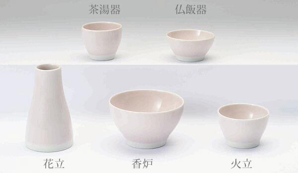 八木研の現代仏具 五具足 わたゆき ピンク