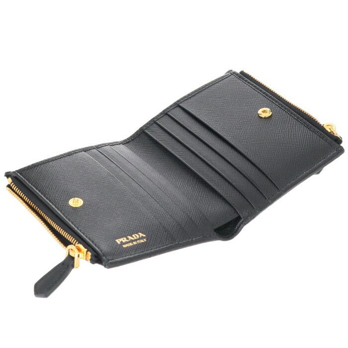 c00f95483845 PRADA. プラダ 財布 ミニ財布 レディース サフィアーノメタル 二つ折り ...