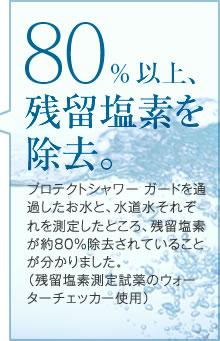 80%以上、残留塩素を除去。