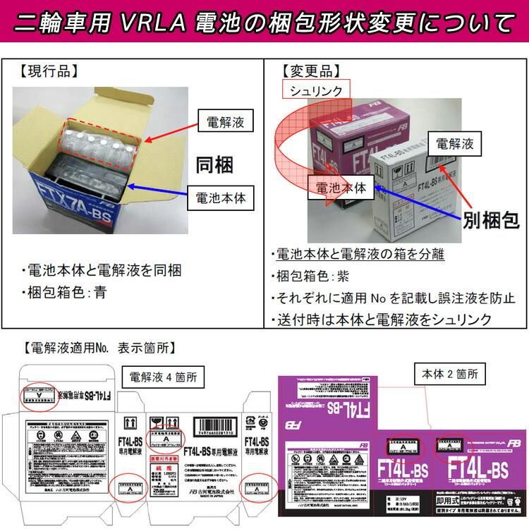 二輪車用VRLA電池の梱包形状変更について