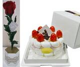 1輪ローズとホールマーク日本製ケーキ