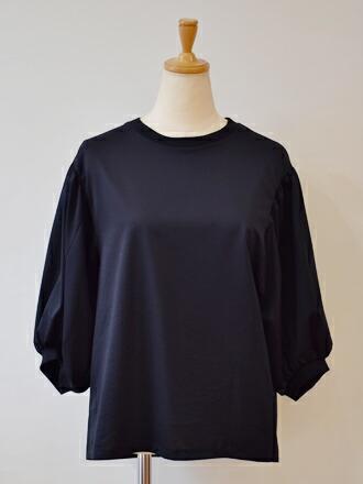 PUPULA ププラパフスリーブ シンプル 黒 ブラック ブラウス カットソー キレイめ 七分袖 かわいい