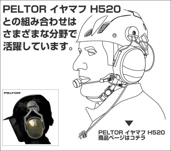 PELTORイヤマフH520との組み合わせはさまざまな分野で活躍しています。