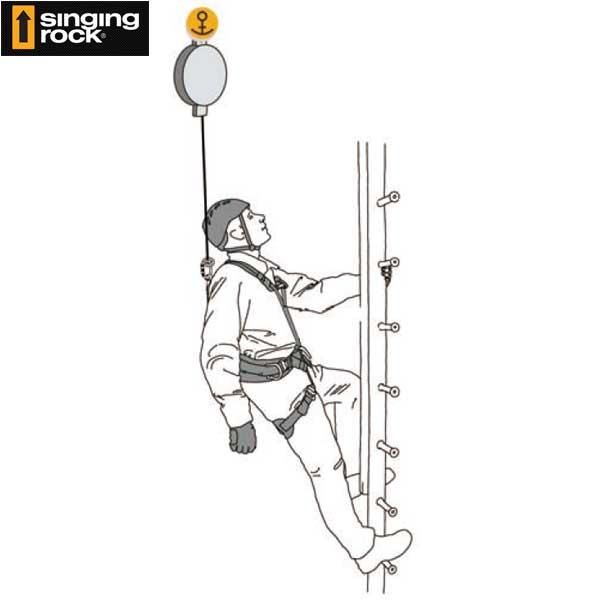 シンギングロック(Singing rock)(チェコ共和国) リトラクタブル・フォールアレスター 巻き取り式墜落防止 「アイノス 6N」 INOS 6N 【SR0690】 | ハシゴ作業 、屋根上での作業