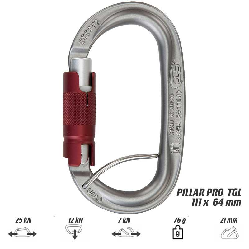 【メール便】クライミングテクノロジー(climbing technology)(イタリア) オーバル型アルミ合金カラビナ 「ピラープロ TGL トリプレックスゲート(スプリングバー付)」
