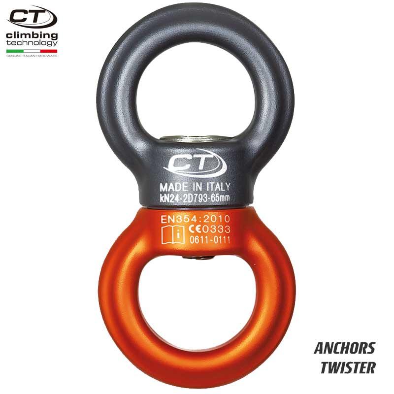 クライミングテクノロジー(climbing technology)(イタリア) アルミ合金製スイベル 「ツイスター」 TWISTER 【2D793 SGWB】 | ツリークライミング ロープ登高 レスキュー 下降