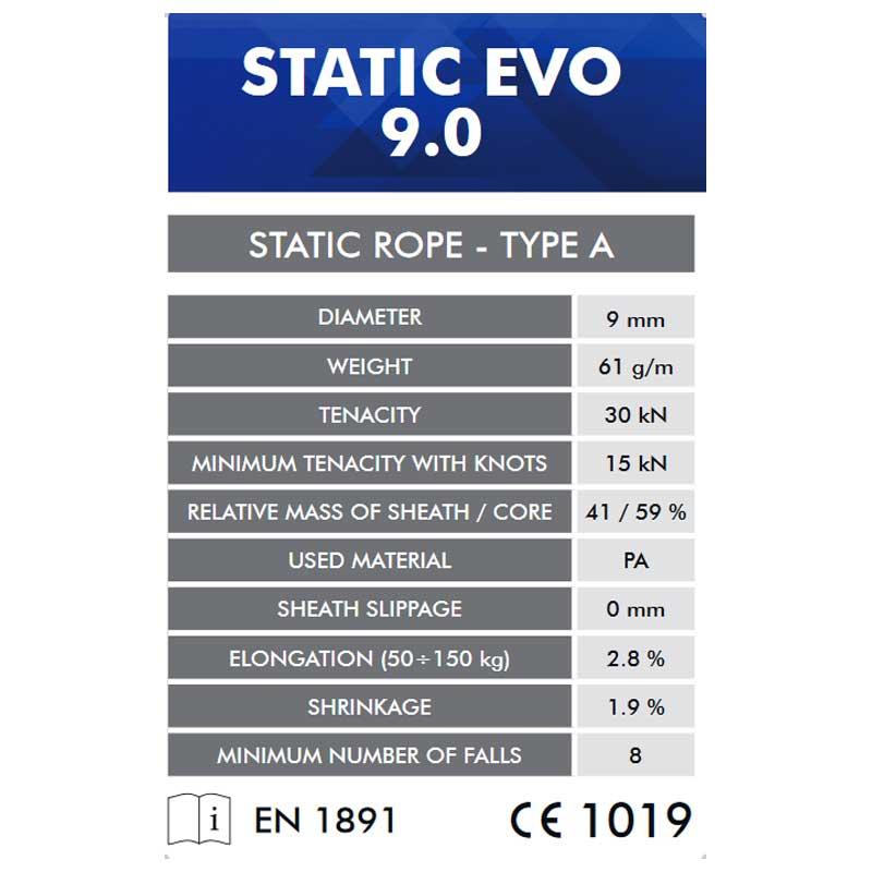 クライミングテクノロジー(climbing technology)(イタリア) ヨーロッパ規格適合 セミスタティックロープ 「スタティックエボ 9mm×50m」 STATIC EVO 【7W167050】