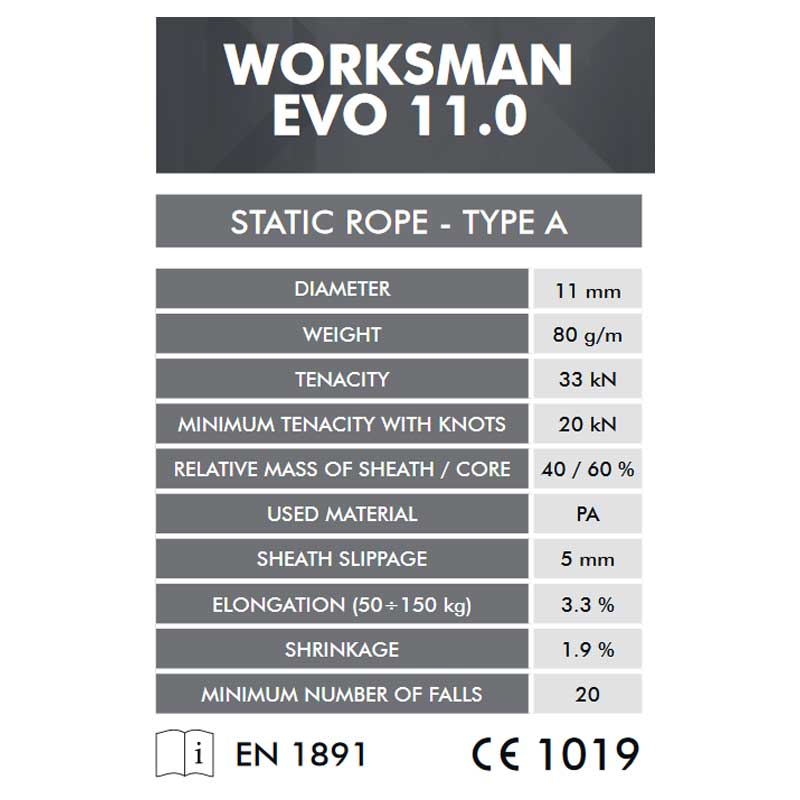 クライミングテクノロジー(climbing technology)(イタリア) ヨーロッパ規格適合 セミスタティックロープ 「ワークスマンエボ 11mm×200m」 WORKSMAN EVO 【7W169200】