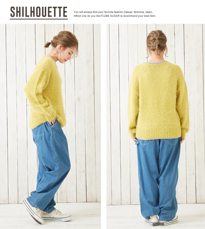 A crew neck (four colors) with 11/1up knit fair CUBE SUGAR feather knit  line: Cubic sugar Lady's sweater pullover