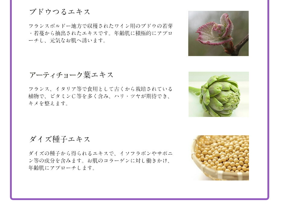 ヒト由来幹細胞を強力バックアップする5つの美容成分配合。ブドウつるエキス、アーティチョーク葉エキス、ダイズ種子エキス