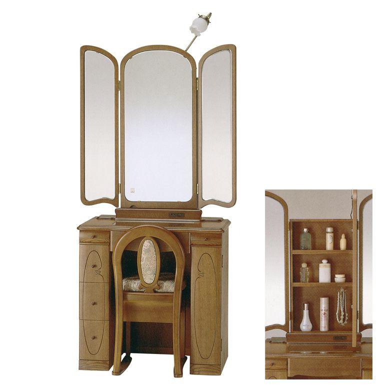 ドレッサー 三面鏡 スリム 三面鏡ドレッサー ミラー 鏡 おしゃれ 椅子 ライト付き 三面ドレッサー チェア付き 鏡台 引出し コンセント付き 引き出し付き 収納付き 椅子付き スツール付き ブラウン アンティーク