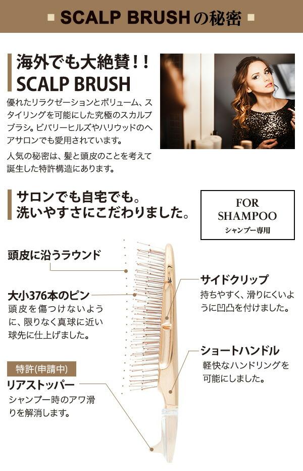 SCALP BRUSHの秘密 海外でも大絶賛!! 特許取得の頭皮密着設計 毛穴にしっかりと届く先玉二段植毛