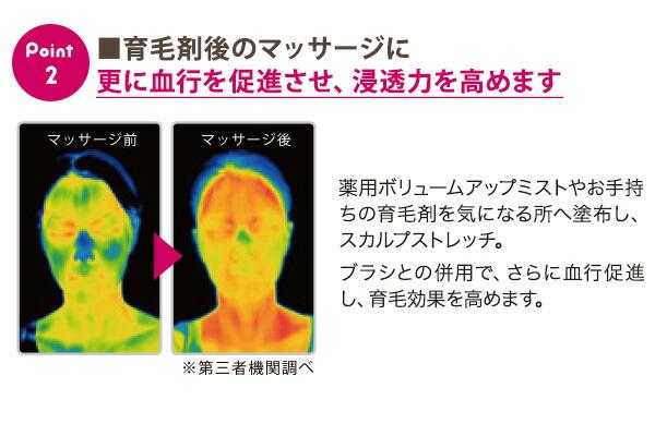 ■育毛剤後のマッサージに 更に血行を促進させ、浸透力を高めます