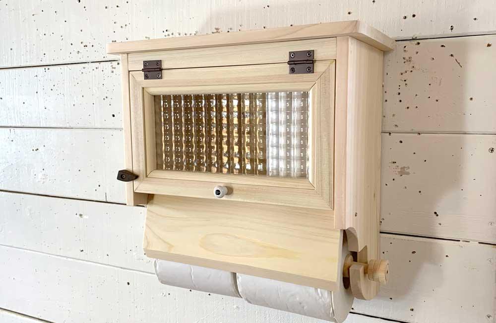 トイレットペーパーホルダー チェッカーガラス扉 無塗装白木 ダブルペーパーホルダー 2個用ストックボックス付き 木製 ひのき ハンドメイド 受注製作