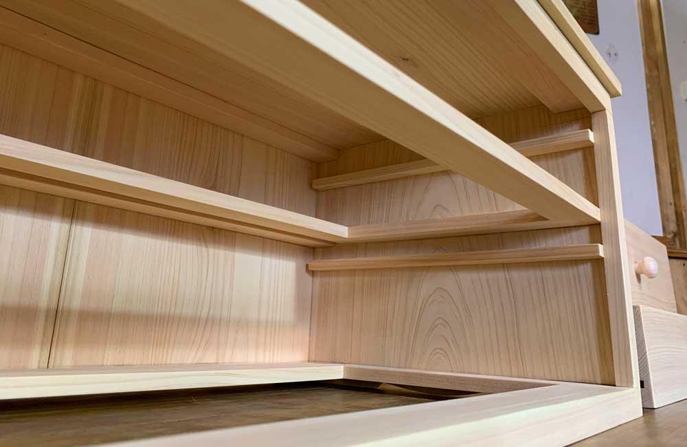 二段小引き出し 木製つまみ ライトオーク w52d32h25cm ドロワー チェスト ハンドメイド 木製 ひのき 受注製作