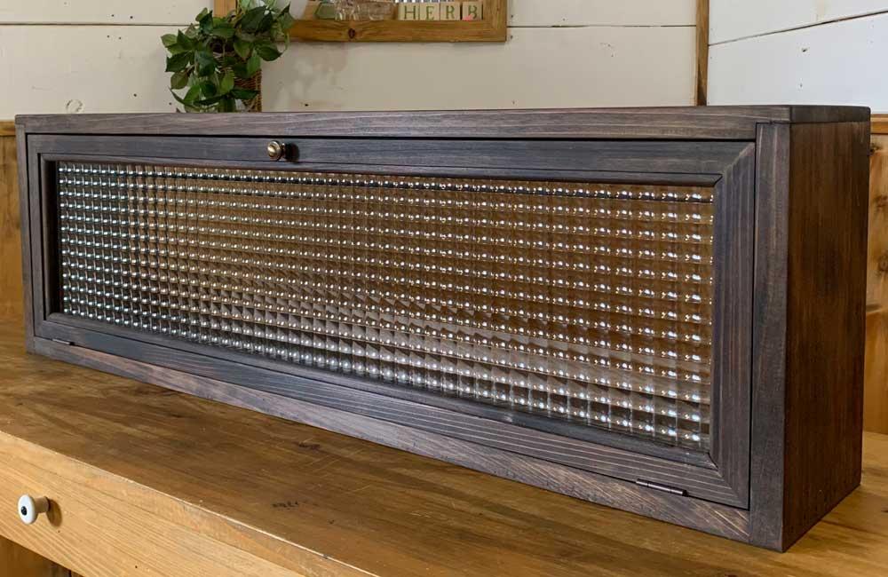横型キャビネット ダークブラウン フランス製チェッカーガラス 83.5x15x26cm 真鍮取手 木製 ひのき 受注製作