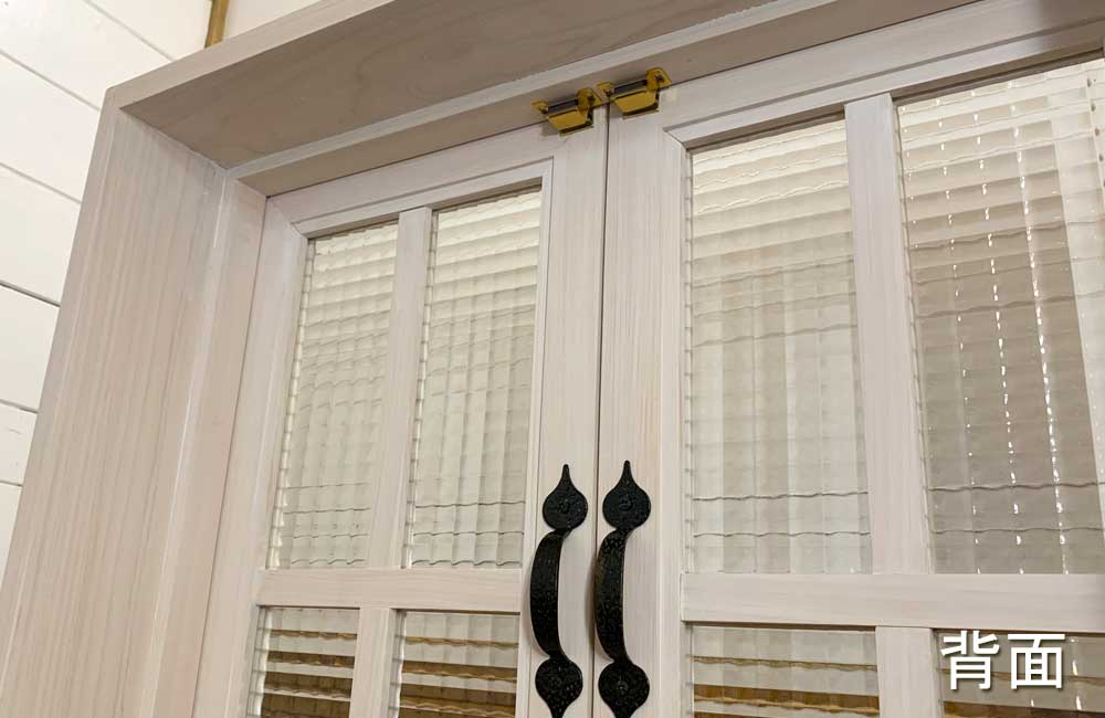 室内窓 チェッカーガラス扉 ホワイトステイン 両面仕様 60×15×60cm 扉の厚み3cm 木製 ひのき ハンドメイド 受注製作