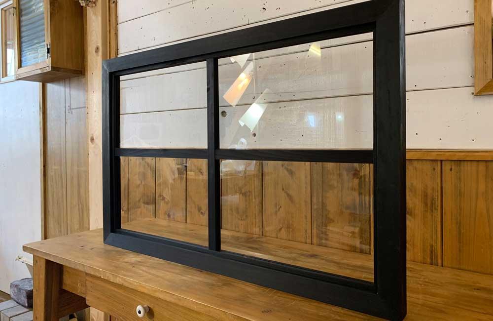室内窓 ブラックオイルステイン w78d3.5h50cm 透明ガラス 両面桟入り 木製 ひのき ハンドメイド 受注製作