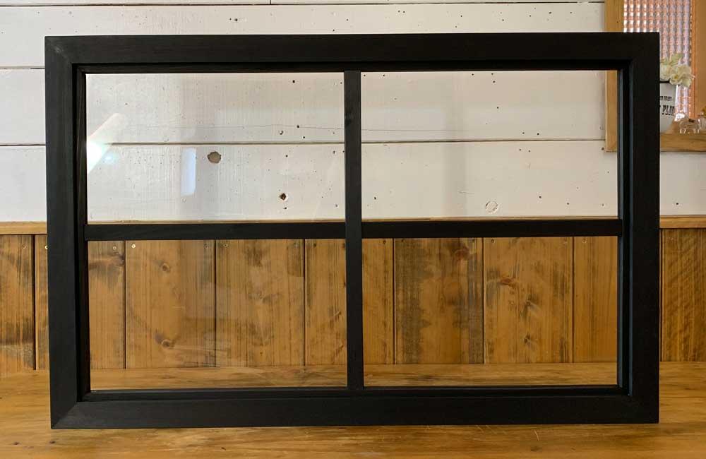 室内窓 ブラックステイン w78d3.5h50cm 透明ガラス 両面桟入り 木製 ひのき ハンドメイド 受注製作