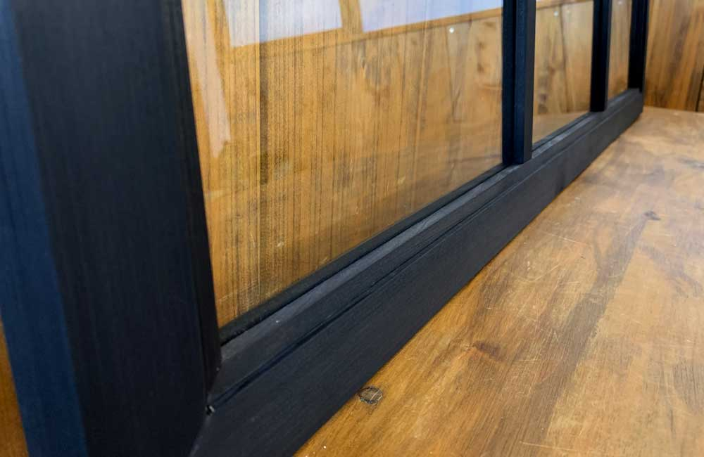 ガラスフレーム ブラックステイン 透明ガラス 両面仕様桟入り 100×45cm・厚み2.5cm 木製 ひのき ハンドメイド オーダーメイド