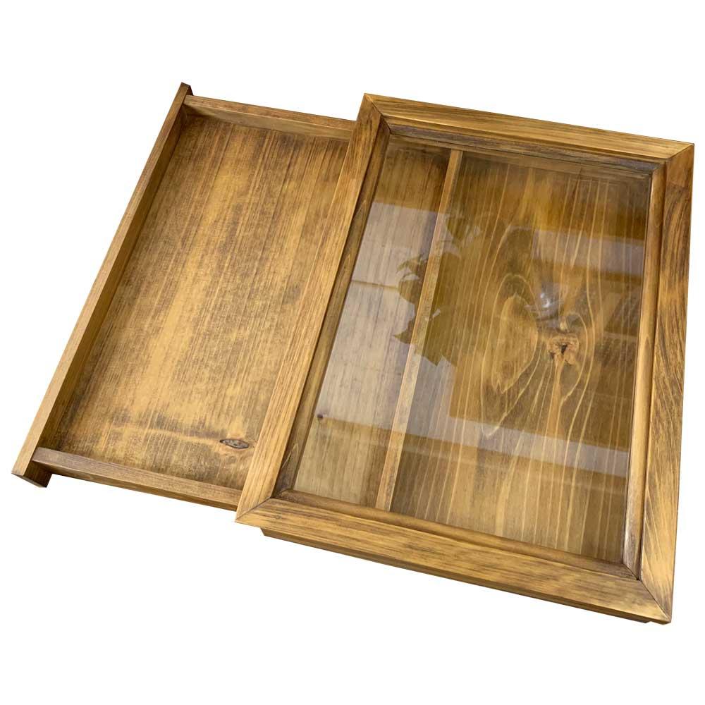 引き出し式コレクションケース 透明ガラス アンティークブラウン w35d27h6cm つまみなし 木製 ひのき ハンドメイド 受注製作