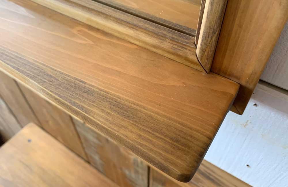 ミラーシェルフ アンティークブラウン 50x9x60cm 木製 ひのき ハンドメイド オーダーメイド