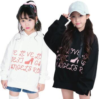 天使のドレス屋さん 子供 子ども パーカー ロゴ 白 黒 ビッグ ダンス 衣装 練習着 ヒップホップ dance hiphop