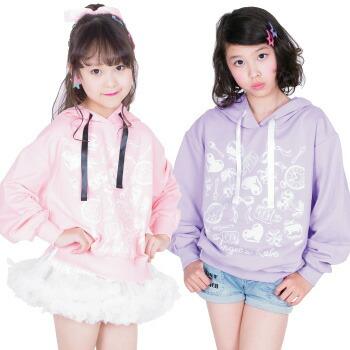 天使のドレス屋さん 子供 子ども パーカー ロゴ ピンク パープル 紫 ラベンダー ビッグ ダンス 衣装 練習着 ヒップホップ dance hiphop