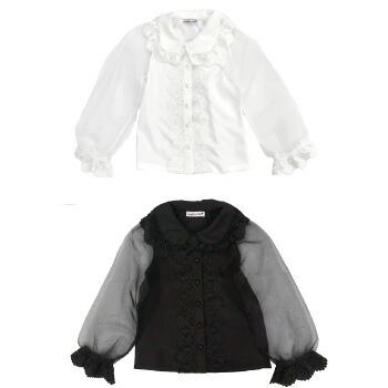 天使のドレス屋さん 子供 子ども ブラウス シャツ シースルー 長袖 白 黒 女の子 着回し