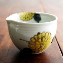 九谷青窯 徳永遊心 片口3.5寸 深鉢 色絵椿