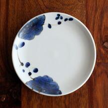 九谷青窯 高原真由美 4.5寸皿 瑠璃花繋ぎ