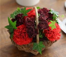 溢れるマルシェ花レッド