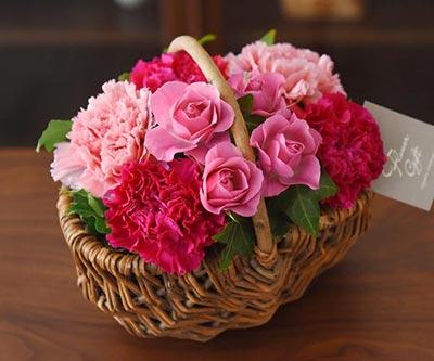 溢れるマルシェ花ピンク