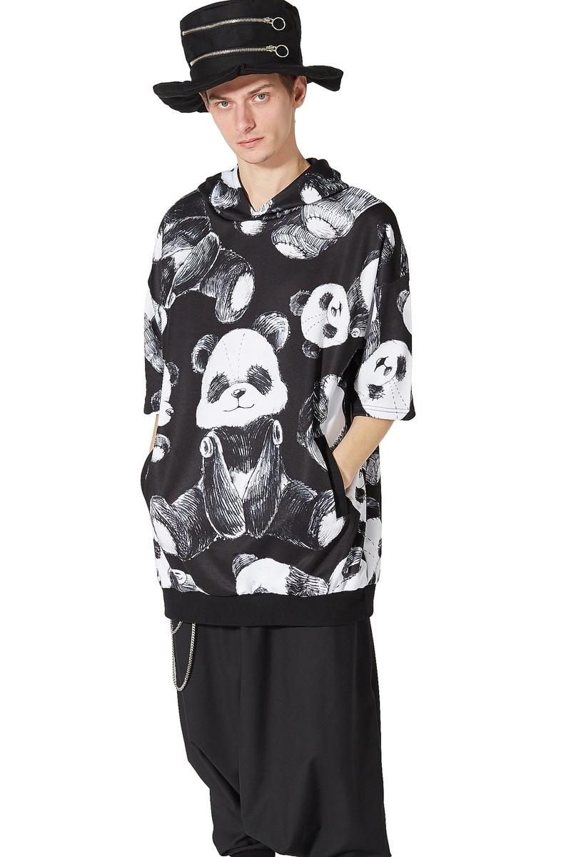 ビッグシルエット トップス 大きいサイズ ユニセックス 黒 メンズ Tシャツ 半袖 柄 ストレッチ レディース シャツ パンダ かわいい ブランド ブラック ワンピース ankoROCK アンコロック カットソー 服