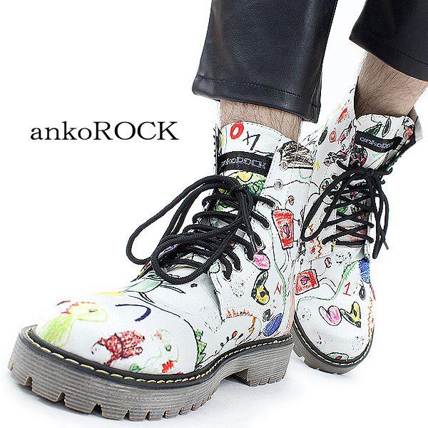 ankoROCKホワイトチャイルドグラフ8ホールブーツ/メンズ落書き柄ブーツレディース柄ブーツ派手