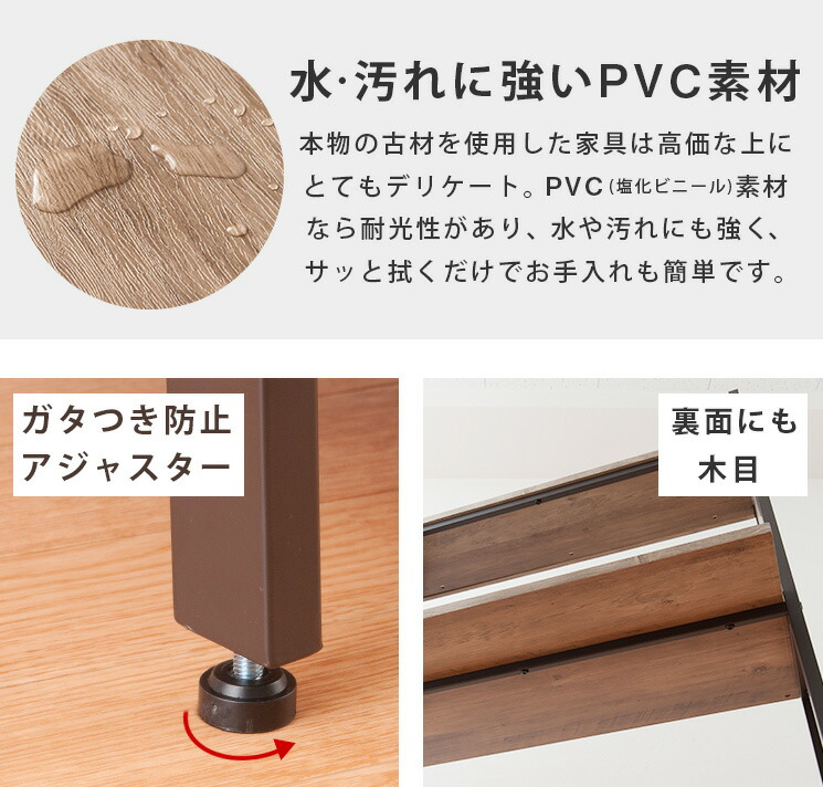 水・汚れに強いPVC素材