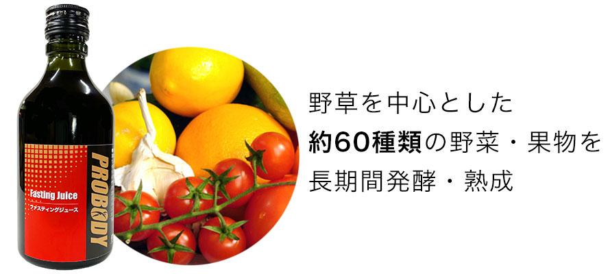野草を中心とした約60種類の野菜・果物を長期間発酵・熟成